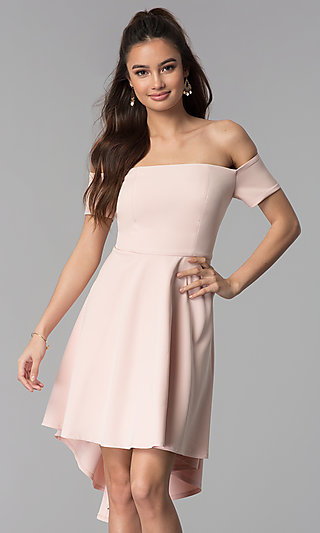 Off-the-Shoulder High-Low Wedding Guest Party Dress