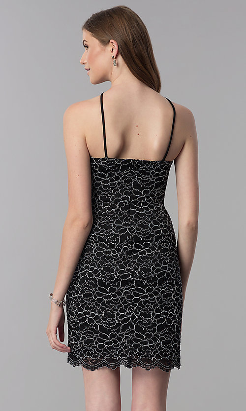 Image of black and white lace short wedding-guest dress. Style: DMO-J321717 Back Image