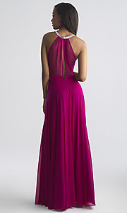 Image of high-neck beaded-collar long formal prom dress. Style: NM-18-724 Back Image