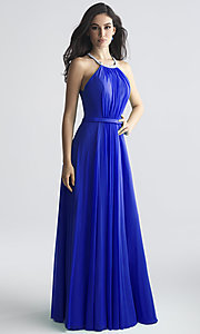 Image of high-neck beaded-collar long formal prom dress. Style: NM-18-724 Detail Image 1