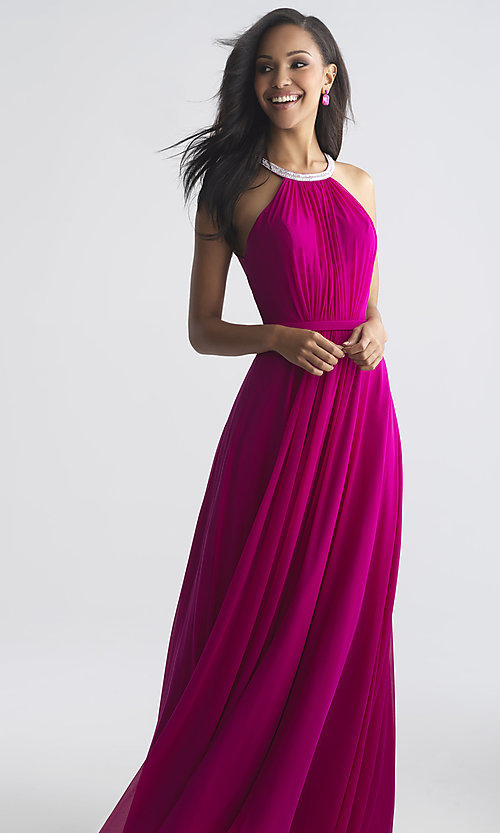 Image of high-neck beaded-collar long formal prom dress. Style: NM-18-724 Front Image