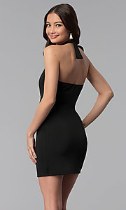Image of high-neck halter short cocktail party dress.  Style: CH-3051 Back Image