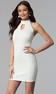 Image of high-neck halter short cocktail party dress.  Style: CH-3051 Detail Image 3