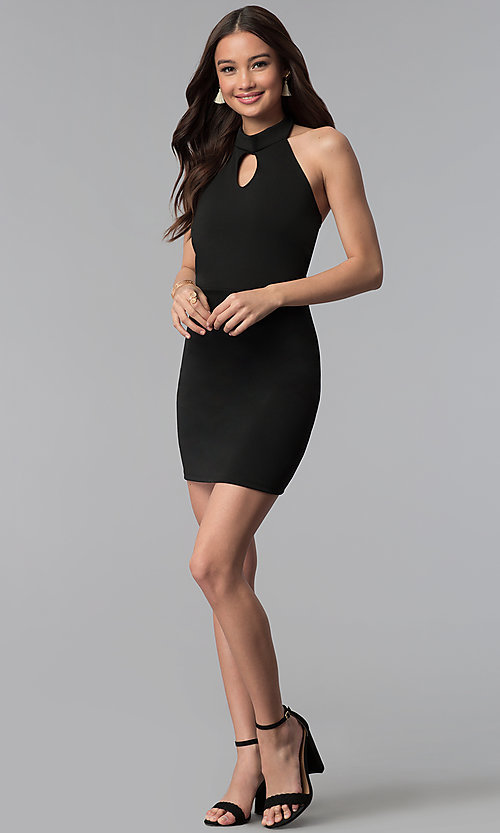 Image of high-neck halter short cocktail party dress.  Style: CH-3051 Detail Image 1