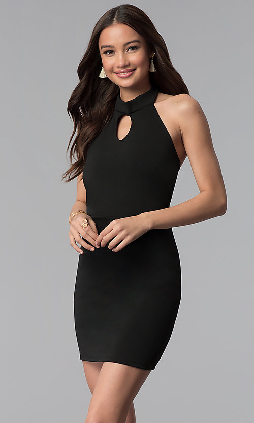 Image of high-neck halter short cocktail party dress.  Style: CH-3051 Front Image
