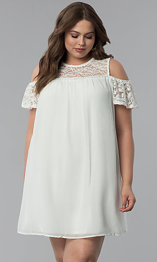 Cold-Shoulder Plus-Size Short Graduation Party Dress