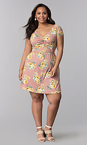 Image of floral-print short plus-size casual party dress.  Style: AS-A692701D27X Detail Image 2