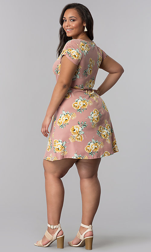 Image of floral-print short plus-size casual party dress.  Style: AS-A692701D27X Detail Image 3