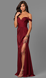 Image of off-the-shoulder dusty pink long satin prom dress. Style: FA-8083d Front Image