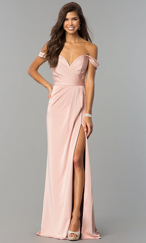 Image of off-the-shoulder dusty pink long satin prom dress. Style: FA-8083d Detail Image 1