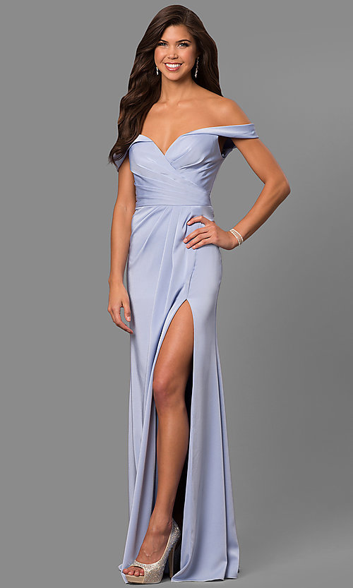 Image of off-the-shoulder dusty pink long satin prom dress. Style: FA-8083d Detail Image 2