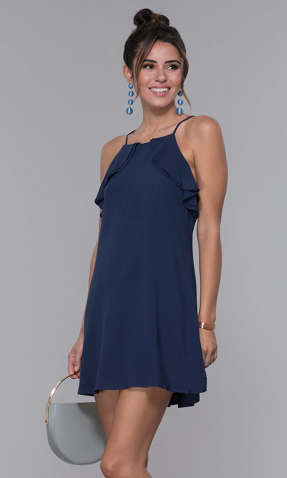 nice shoes shop for luxury exceptional range of styles Short High-Neck Navy Blue Shift Wedding-Guest Dress