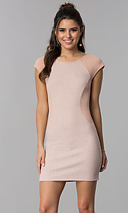 Image of deep rose pink short day-to-night sheath dress. Style: SS-D70911J592 Front Image