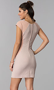 Image of deep rose pink short day-to-night sheath dress. Style: SS-D70911J592 Back Image
