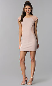 Image of deep rose pink short day-to-night sheath dress. Style: SS-D70911J592 Detail Image 3