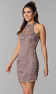 Image of high-neck short lace party dress with caged back. Style: SS-D68795H439 Front Image
