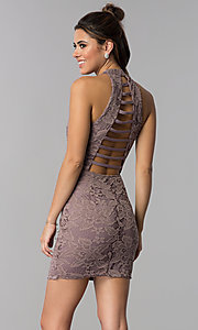 Image of high-neck short lace party dress with caged back. Style: SS-D68795H439 Back Image