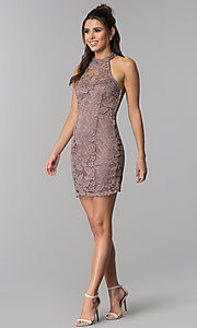 Image of high-neck short lace party dress with caged back. Style: SS-D68795H439 Detail Image 2