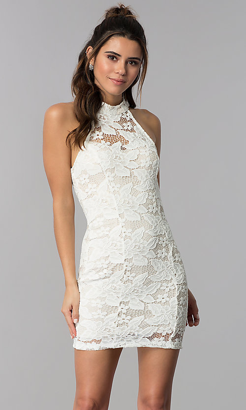 Image of high-neck short lace party dress with caged back. Style: SS-D68795H439 Detail Image 3