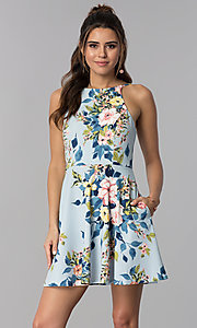 Image of short floral-print blue party dress with pockets. Style: SS-D71891DYW Front Image