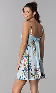 Image of short floral-print blue party dress with pockets. Style: SS-D71891DYW Back Image