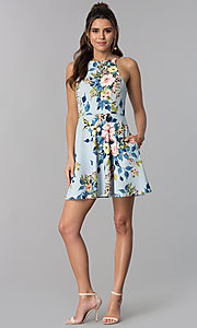 Image of short floral-print blue party dress with pockets. Style: SS-D71891DYW Detail Image 3