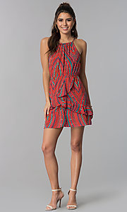 Image of short casual cruise dress with multicolored print. Style: SS-JA95952GRP Detail Image 3