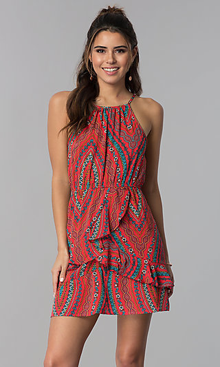 Short Casual Cruise Dress with Multicolored Print