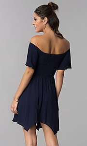 Image of off-shoulder smocked-bodice navy blue party dress. Style: SS-JA97221LW5 Back Image