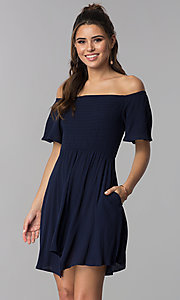 Image of off-shoulder smocked-bodice navy blue party dress. Style: SS-JA97221LW5 Front Image
