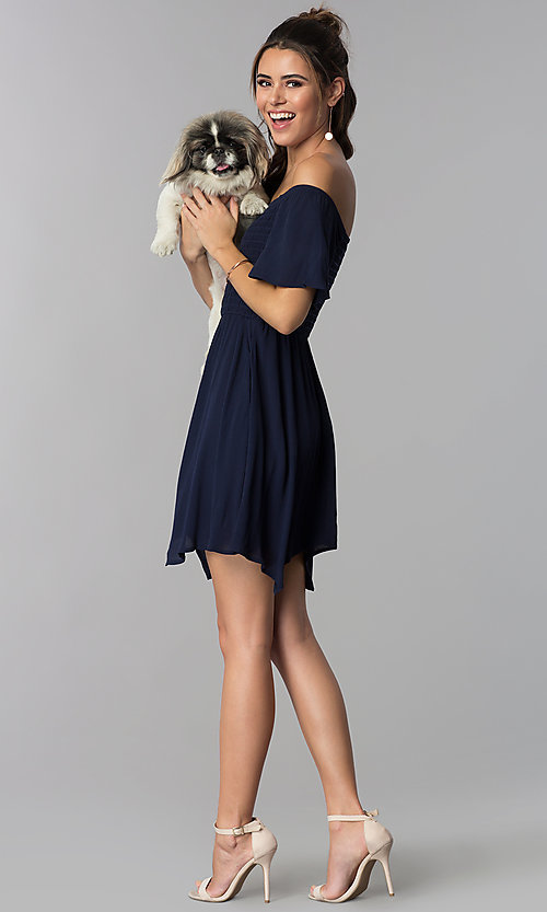 Image of off-shoulder smocked-bodice navy blue party dress. Style: SS-JA97221LW5 Detail Image 2