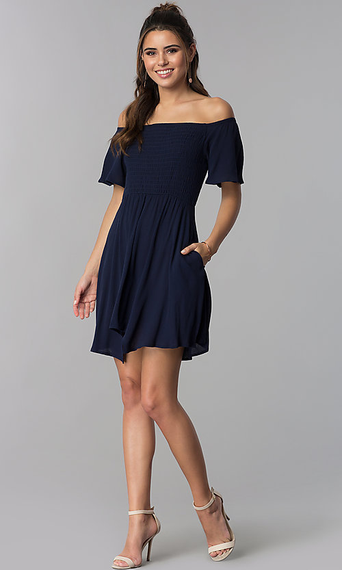 Image of off-shoulder smocked-bodice navy blue party dress. Style: SS-JA97221LW5 Detail Image 3