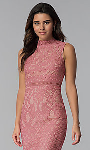 Image of blush and nude lace short graduation party dress. Style: JTM-JMD8596 Detail Image 1