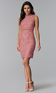 Image of blush and nude lace short graduation party dress. Style: JTM-JMD8596 Detail Image 3