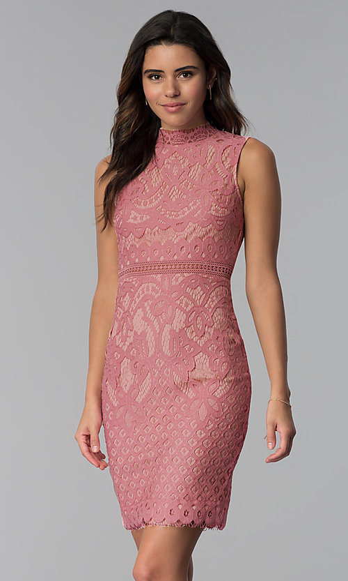 Image of blush and nude lace short graduation party dress. Style: JTM-JMD8596 Front Image