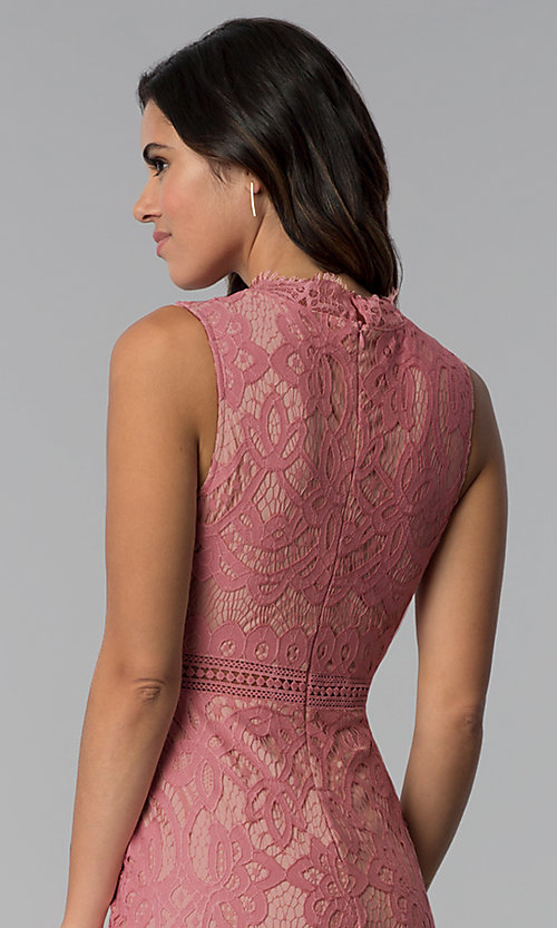 Image of blush and nude lace short graduation party dress. Style: JTM-JMD8596 Detail Image 2
