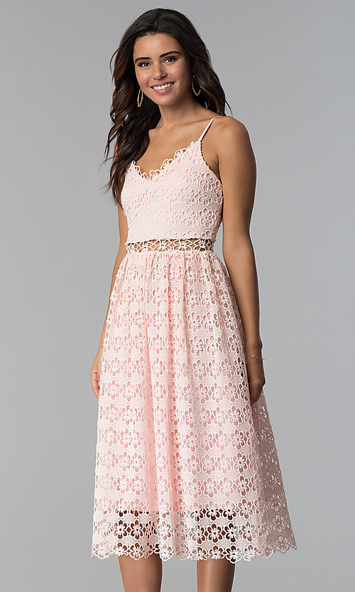 Pink Midi Lace V-Neck Wedding Guest Dress