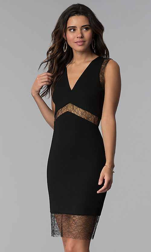 Image of empire-waist short black party dress with sheer lace.  Style: JTM-JMD7778 Front Image