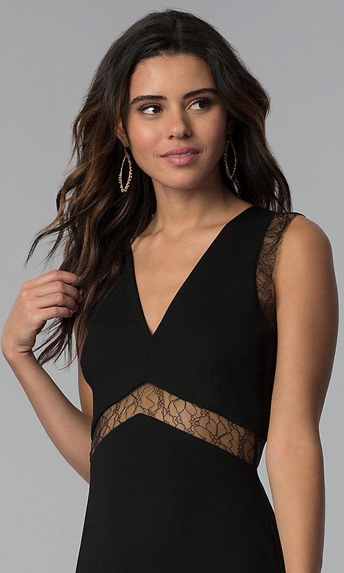 Image of empire-waist short black party dress with sheer lace.  Style: JTM-JMD7778 Detail Image 1