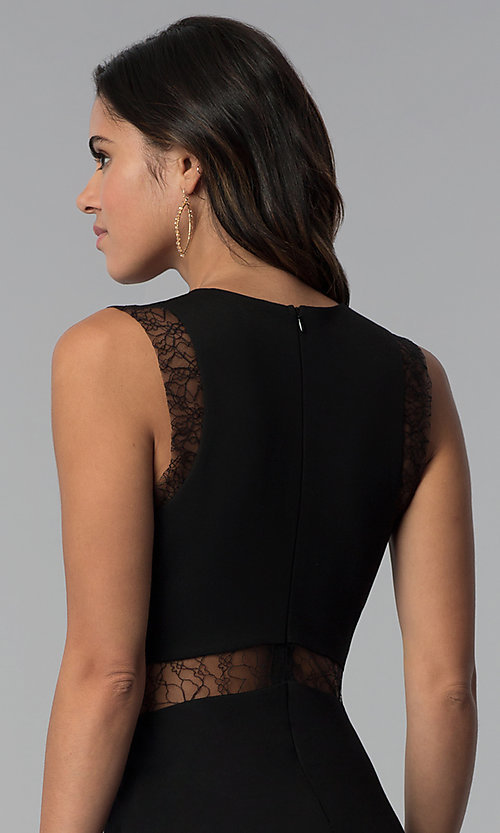 Image of empire-waist short black party dress with sheer lace.  Style: JTM-JMD7778 Detail Image 2