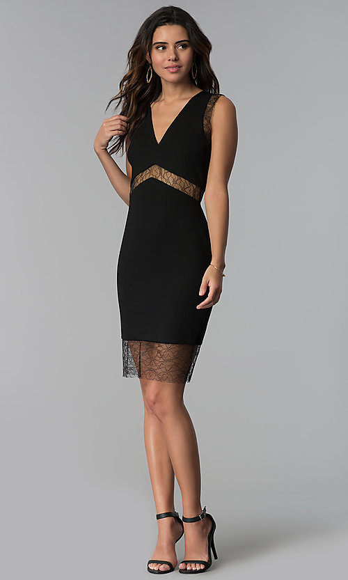 Image of empire-waist short black party dress with sheer lace.  Style: JTM-JMD7778 Detail Image 3