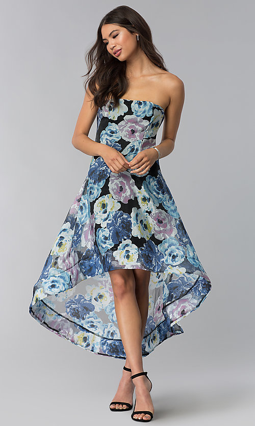 ac78ba041d62 Image of floral-print strapless high-low wedding guest dress. Style: LUX