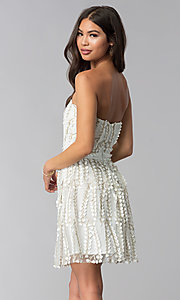 Image of short strapless ivory embroidered-lace party dress. Style: LUX-LD4552 Back Image