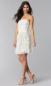 Image of short strapless ivory embroidered-lace party dress. Style: LUX-LD4552 Detail Image 3