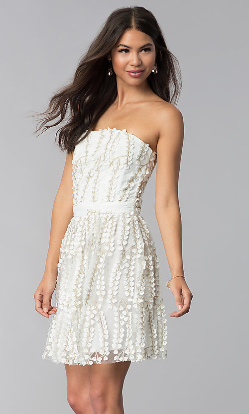 Image of short strapless ivory embroidered-lace party dress. Style: LUX-LD4552 Front Image