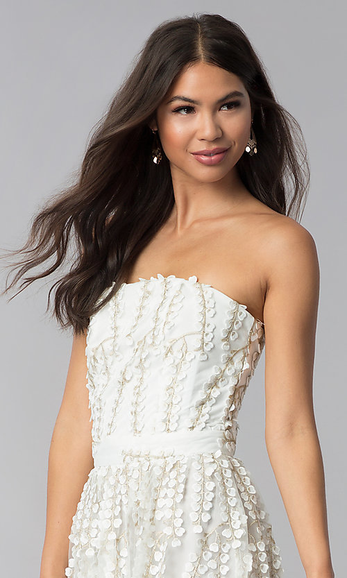 Image of short strapless ivory embroidered-lace party dress. Style: LUX-LD4552 Detail Image 1