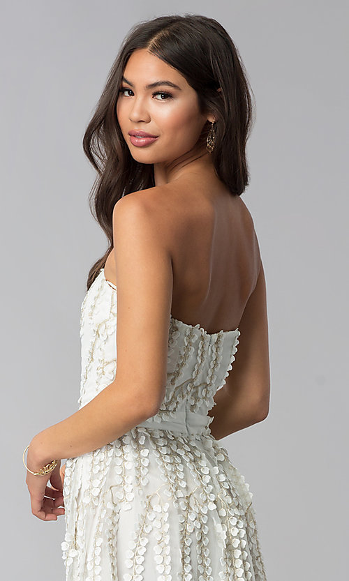 Image of short strapless ivory embroidered-lace party dress. Style: LUX-LD4552 Detail Image 2