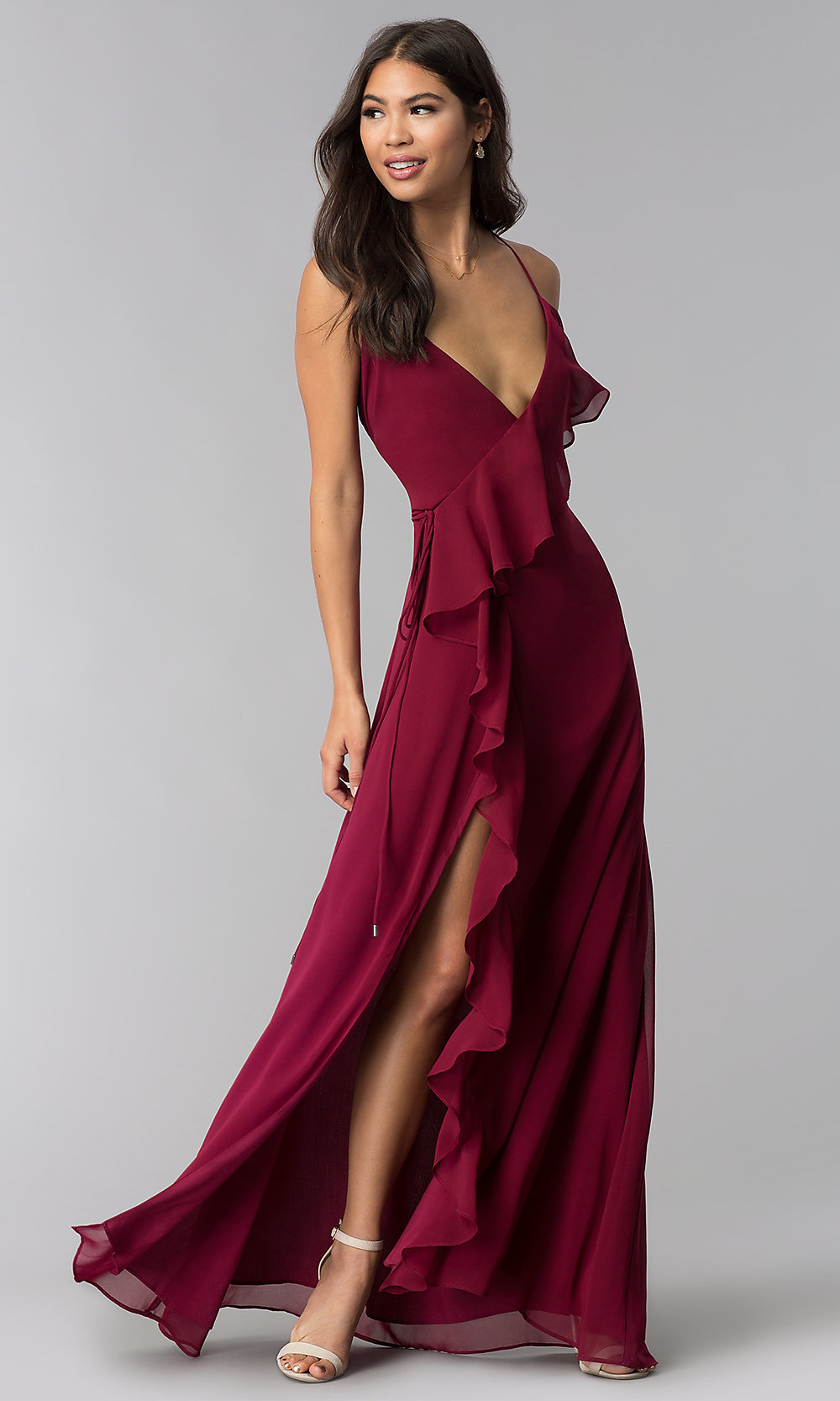 Long Wine Red Ruffled Wrap Wedding Guest Dress
