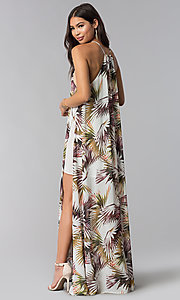Image of print long wedding guest dress with side slit. Style: LUX-LD4800 Back Image