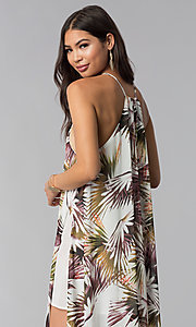 Image of print long wedding guest dress with side slit. Style: LUX-LD4800 Detail Image 2